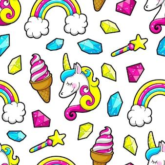 Nahtloser hintergrund von einhörnern, regenbogen und kristallen. vektor-illustration