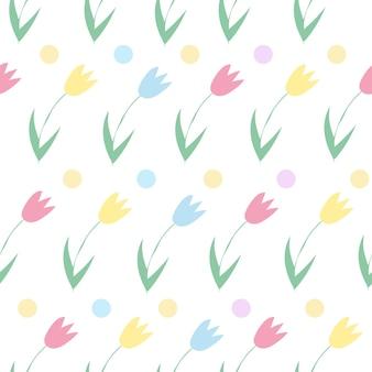 Nahtloser hintergrund von frühlingsblumen. vektormuster von tulpen