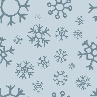Nahtloser hintergrund von hand gezeichneten schneeflocken. weihnachts- und neujahrsdekorationselemente. vektor-illustration.