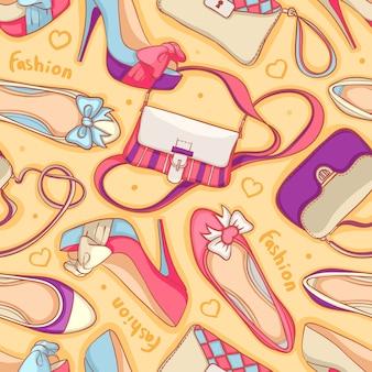 Nahtloser hintergrund von modischen damenschuhen und -taschen