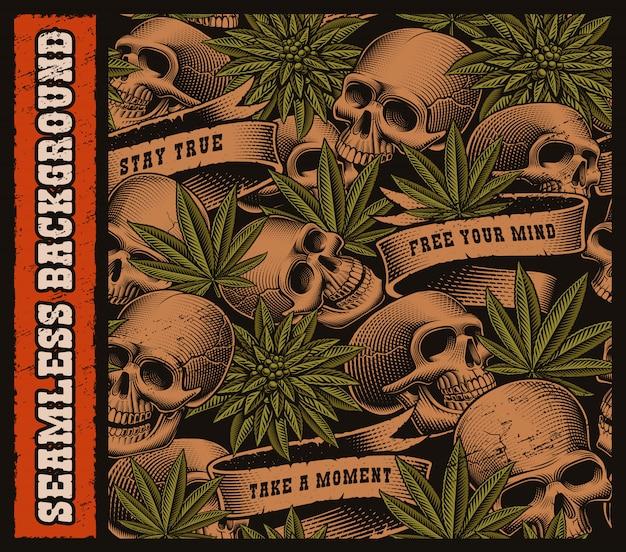 Nahtloser hintergrund von schädeln und cannabisblättern im weinlese-tätowierungsstil. überlagert auf dem dunklen hintergrund.