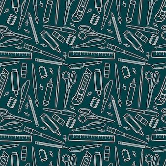 Nahtloser hintergrund von schreibwaren. handgezeichnete illustration.