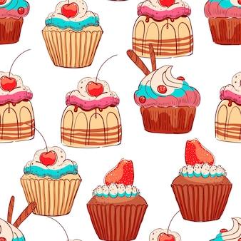 Nahtloser hintergrund von süßen cupcakes mit sahne und beeren