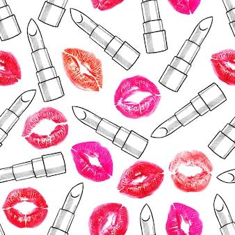 Nahtloser hintergrund von verschiedenfarbigen lippenstiften und lippenabdrücken. handgezeichnete illustration