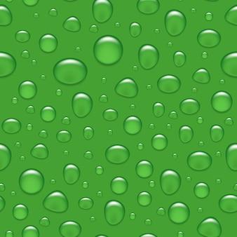 Nahtloser hintergrund - wassertropfen auf grün.