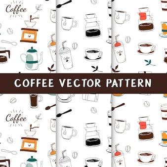 Nahtloser hintergrundvektor des kaffeehauses und des cafés