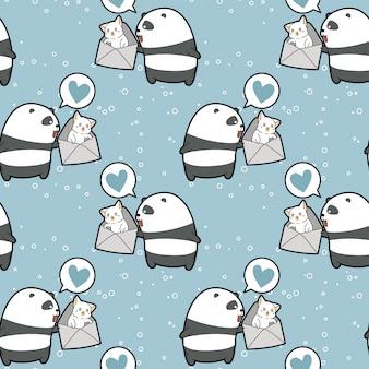 Nahtloser kawaii panda hält katze im umschlagmuster