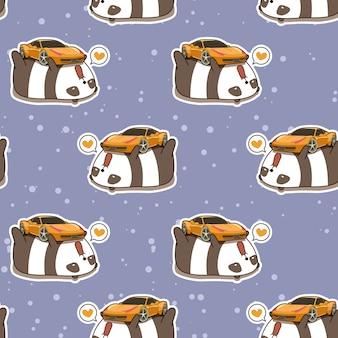 Nahtloser kawaii panda liebt superautomuster