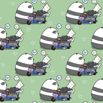 Nahtloser kawaii panda und katze spielt das spielzeugmuster