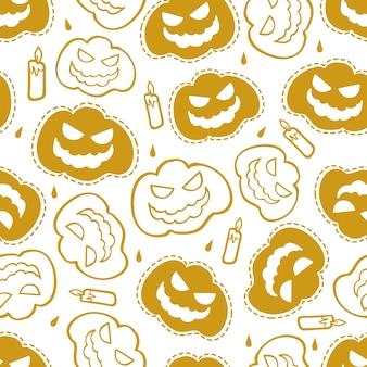 Nahtloser kürbis mit kerze im halloween-nachtmusterhintergrund