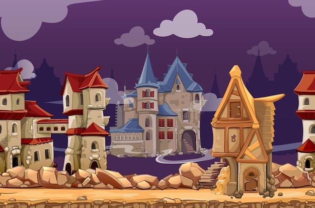 Nahtloser landschaftshintergrund der mittelalterlichen stadt für computerspiel. schnittstellenpanorama, gui-stadt oder stadt, vektorillustration