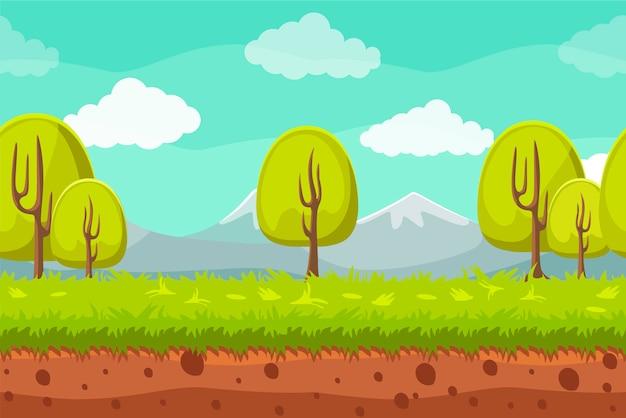 Nahtloser landschaftshintergrund. horizontaler cartoonhintergrund für spiele