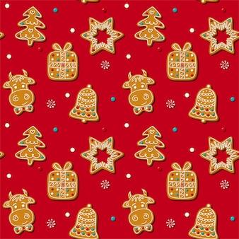 Nahtloser lebkuchen-weihnachtsplätzchen.