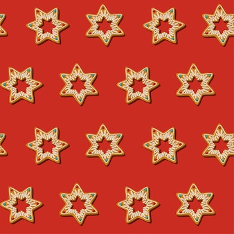 Nahtloser lebkuchen-weihnachtsplätzchenstern. muster, roter hintergrund. v.