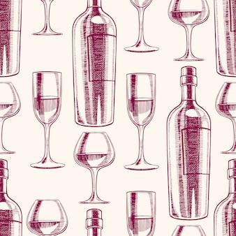 Nahtloser lila hintergrund mit flaschen und gläsern wein. handgezeichnete illustration