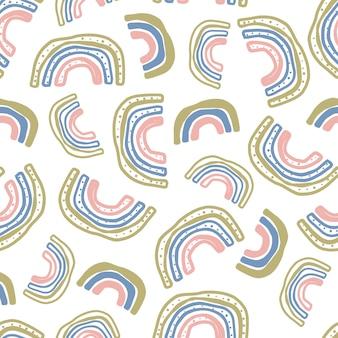 Nahtloser mehrfarbiger musterhintergrund mit hand zeichnen gekritzelregenbogen