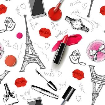 Nahtloser mode- und kosmetikhintergrund mit make-up-künstlerobjekt-vektorillustration