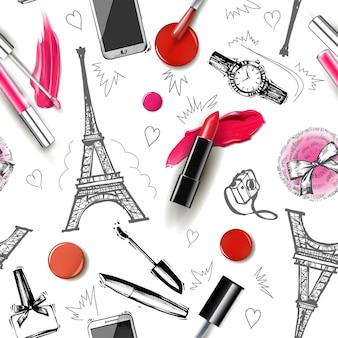 Nahtloser mode- und kosmetikhintergrund mit make-up-künstlerobjekten vektorillustration