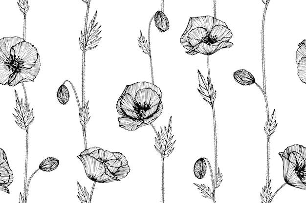Nahtloser mohnblumenblumenmusterhintergrund.