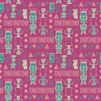 Nahtloser muster aztekischer weiblicher bunter hintergrund