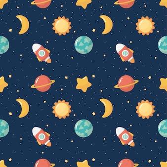 Nahtloser muster-cartoon-raum. planeten isoliert auf blauem hintergrund.