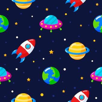 Nahtloser muster-cartoonraum. planeten isoliert