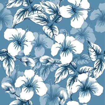 Nahtloser muster hibiscus blüht abstrakten hintergrund.