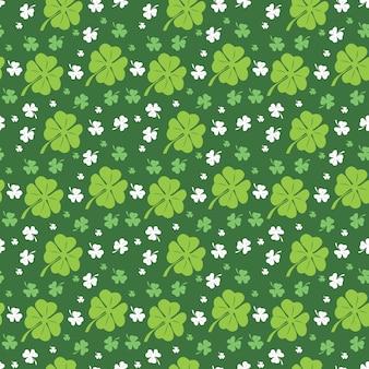 Nahtloser muster-klee, der grünes blatt mit blumen wiederholt