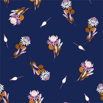 Nahtloser muster protea blüht blumen und anlagen. wiederholen sie das design für modestoffe, tapeten und alle drucke