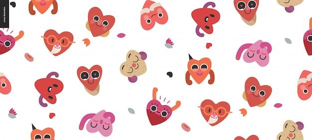 Nahtloser muster valentinsgruß der glücklichen herzen