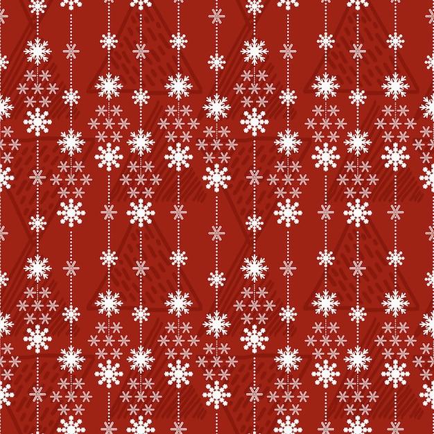 Nahtloser muster weihnachtshintergrund mit schneekristallen
