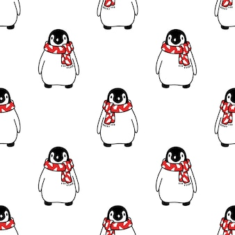 Nahtloser muster-weihnachtsmann-weihnachtsmann-karikatur des pinguins