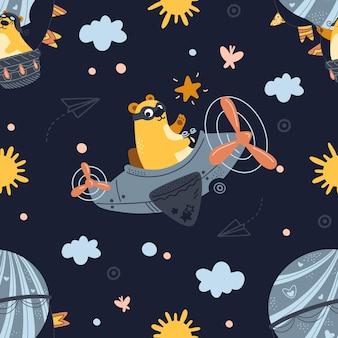 Nahtloser musterbär, der auf einem flugzeug, heißluftballon fliegt. netter karikatur-teddybär, der im nachthimmel fliegt.
