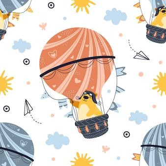Nahtloser musterbär, der auf heißluftballon fliegt. netter cartoon-teddy.