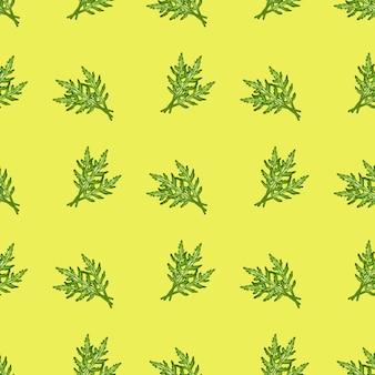Nahtloser musterbündel rucolasalat auf gelbem hintergrund. einfache verzierung mit salat.