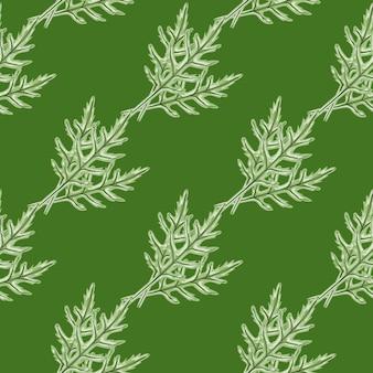 Nahtloser musterbündel rucolasalat auf grünem hintergrund. einfache verzierung mit salat.