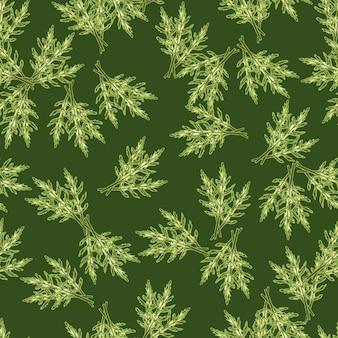 Nahtloser musterbündel rucolasalat auf grünem hintergrund. moderne verzierung mit salat. zufällige pflanzenvorlage für stoff. design-vektor-illustration.