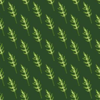 Nahtloser musterbündel rucolasalat auf grünem hintergrund. moderne verzierung mit salat.