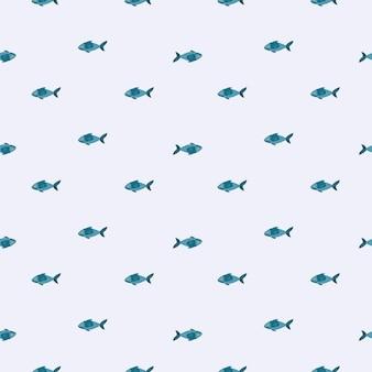 Nahtloser musterfisch auf grauem hintergrund. minimalistisches ornament mit meerestieren.