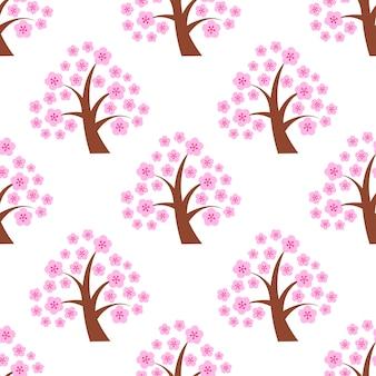 Nahtloser musterfrühlingsblüten-kirschbaum mit blume