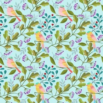 Nahtloser mustergewebe-textilhintergrund des vogels und der anlage.