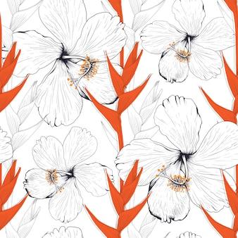 Nahtloser musterhibiskus und heliconia blühen abstrakten hintergrund. zeichnen von strichzeichnungen.