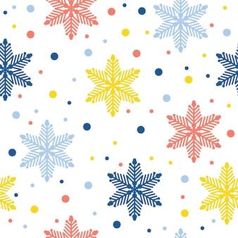 Nahtloser musterhintergrund der abstrakten handgemachten schneeflocke. kindliche handgefertigte schneetapete für designkarten, babywindeln, wintermenü, urlaubspapier, taschendruck, t-shirt usw.