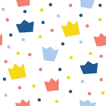Nahtloser musterhintergrund der abstrakten krone. kindliche tapeten für designkarten, tapeten, alben, sammelalben, weihnachtspapier, textilstoffe, taschendruck, t-shirts usw.