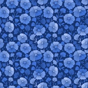 Nahtloser musterhintergrund der blauen und weißen blumen.