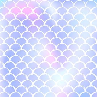 Nahtloser musterhintergrund der holographischen meerjungfrau mit gradientenskalen. grelle farbe