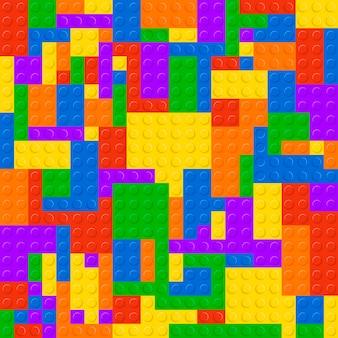 Nahtloser musterhintergrund der kunststoffkonstruktionsblöcke. bausteine buntes spielziegelkonstruktionsspielzeug. geometrisches baupuzzlespiel für kinder.