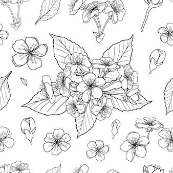Nahtloser musterhintergrund der schwarzen und weißen kirschblumen. vektor-illustration