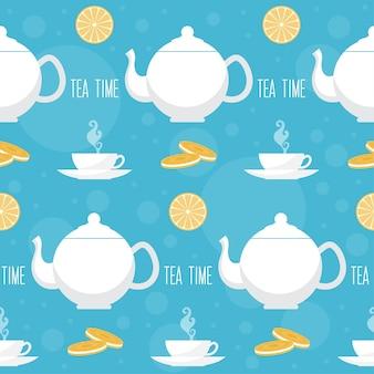 Nahtloser musterhintergrund der teezeit