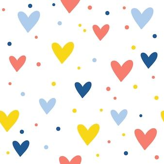 Nahtloser musterhintergrund des abstrakten handgemachten herzens. kinderhandwerk für designkarten, café-menü, tapeten, geschenkalbum, sammelalbum, weihnachtspapier, babywindel, taschendruck, t-shirt usw.